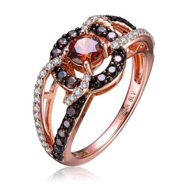 Collette Z Sterling Silver White Cubic Zirconia Rose Gold Plated Clear Black and Champagne Cubic Zirconia Ring