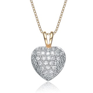 Collette Z Sterling Silver Gold plating clear White Cubic Zirconia Dangling Pendant Necklace