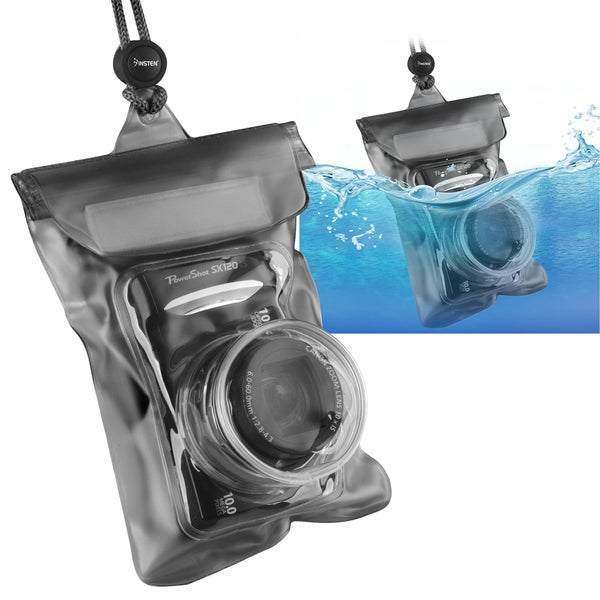 INSTEN Black Waterproof Camera Phone Case Cover with Rope