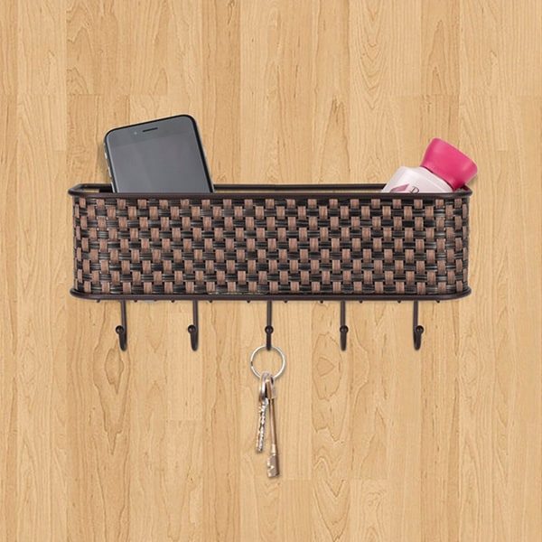 Home Basics Letter Basket and Key Holder in Brown Weave