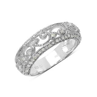 Olivia Leone Sterling Silver 2/5ct TDW Vintage Diamond Band Ring (I-J, I2-I3)