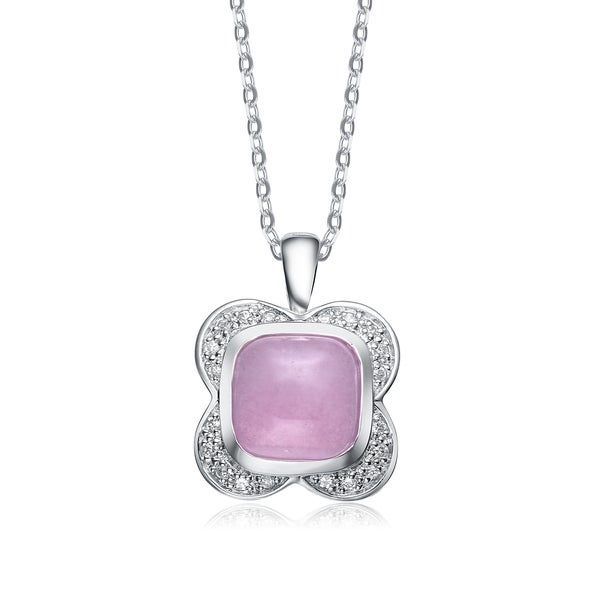 Collette Z Sterling Silver White and Lilac Cubic Zirconia Pendant
