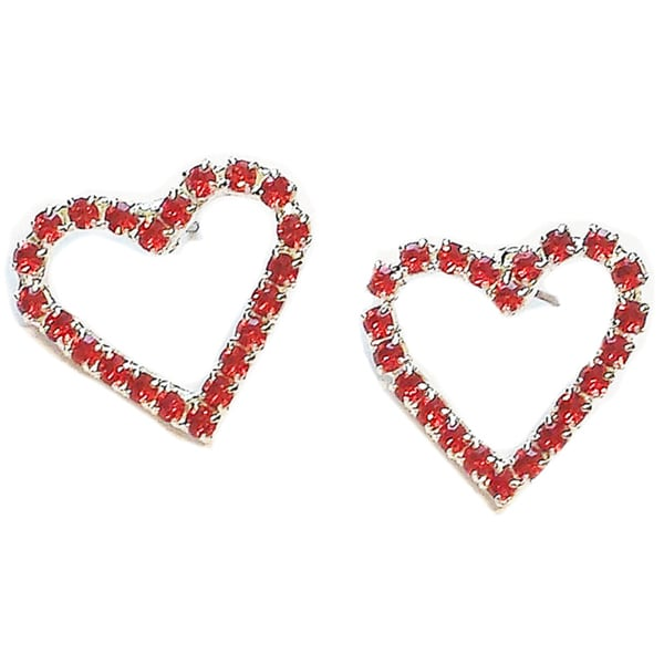 Red Heart Crystal Earrings