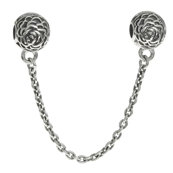Queenberry Sterling Silver Round Rose Stopper Clip Lock Safety Chain European Bead Charm
