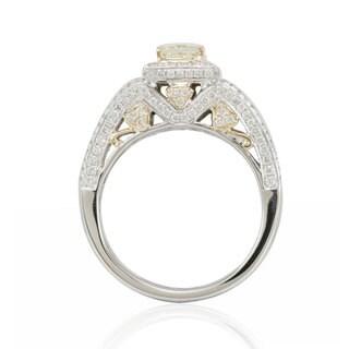 Suzy Levian 14K Two-Tone Gold Yellow Diamond Designer Ring