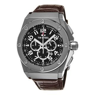 TW Steel Men's CE4014 'Ceo Tech' Black Dial Brown Leather Strap Chronograph Quartz Large Watch