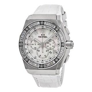 TW Steel Men's CE4015 'Ceo Tech' Mother of Pearl Dial White Leather Strap Chronograph Swarovski Quartz Watch