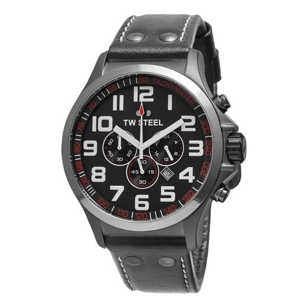 TW Steel Men's TW423 'Pilot' Grey Dial Grey Leather Strap Chronograph Quartz Large Watch