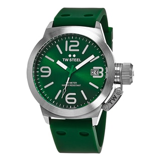 TW Steel Men's TW505 'Canteen' Green Dial Green Rubber Strap Quartz Watch