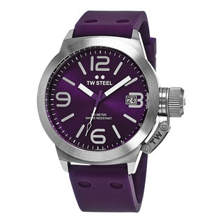 TW Steel Men's TW515 'Canteen' Purple Dial Purple Rubber Strap Quartz Watch