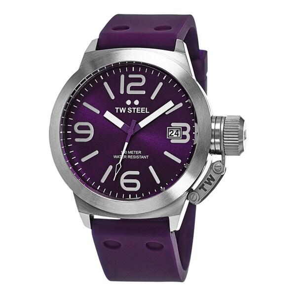 TW Steel Men's TW515 'Canteen' Purple Dial Purple Rubber Strap Quartz Watch
