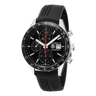 Tag Heuer Men's CV201AK.FT6040 'Carrera' Black Dial Black Rubber Strap Chronograph Swiss Automatic Watch