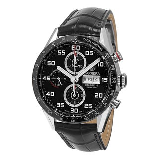 Tag Heuer Men's CV2A1R.FC6235 'Carrera' Black Dial Black Leather Strap Chronograph Swiss Automatic Watch