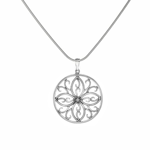 Jewelry by Dawn Round Scroll Medallion Sterling Silver Snake Chain Necklace
