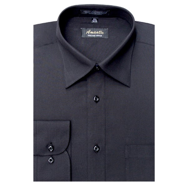 Men's Wrinkle-free Black Dress Shirt in Black (As Is Item)