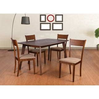 Olivia Mid-Century 5 Piece Living Room Extendable Dining Set, Brown
