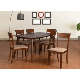 Olivia Mid-Century 7 Piece Living Room Extendable Dining Set, Brown