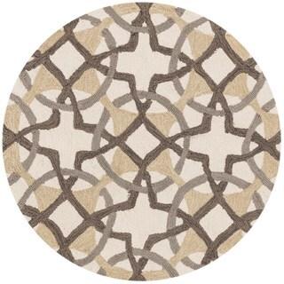 Hand-hooked Charlotte Ivory/ Brown Circle Motif Rug (3' x 3')