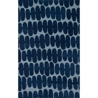 Hand-tufted Echo Blue Retro Rug (5'0 x 7'6)