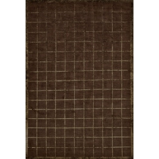 Grand Bazaar Hand-knotted Wool and Silk Chadwick Rug in Chocolate (7'9 x 9'9)