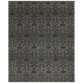 """Feizy Hand Knotted Wool/Silk/Cotton Kooshlame Rug In Gray / Teal 7'-9"""" X 9'-9"""""""