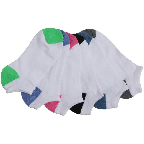 Joan Vass Women's Color Heel and Toe Sport Sock (Pack of 6)