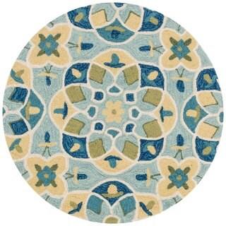 Hand-hooked Charlotte Turquoise/ Sea Kaleidoscope Rug (3' x 3')