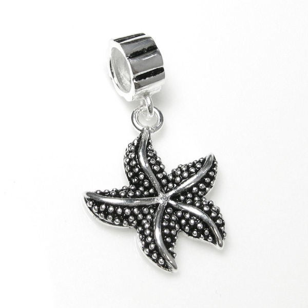 Queenberry Sterling Silver Star Fish Dangle Pendant European Bead Charm
