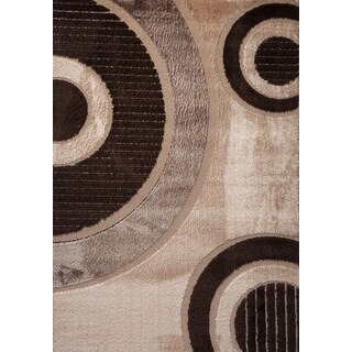 TEMPO Collection Brown Beige Contemporary Modern Geometric Shaggy Shag Area Rug (5'3 x 7'7)