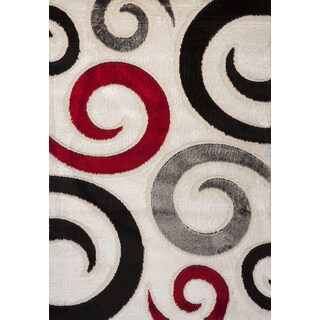 TEMPO Geometric White, Red, and Black Area Rug (5'3 x 7'7)