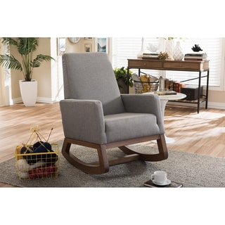 Baxton Studio Yashiya Mid-century Retro Modern Grey Fabric Upholstered Rocking Chair