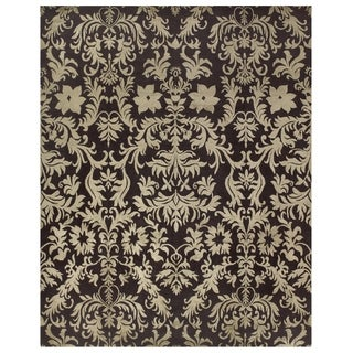 Grand Bazaar Hand-knotted Wool/ Silk/ Cotton Kooshlame Rug in Charcoal (7'9 x 9'9)