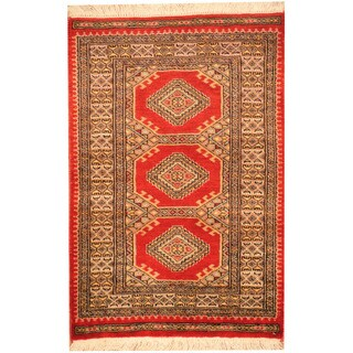 Herat Oriental Pakistani Hand-knotted Prince Bokhara Red/ Black Wool Rug (2' x 3')
