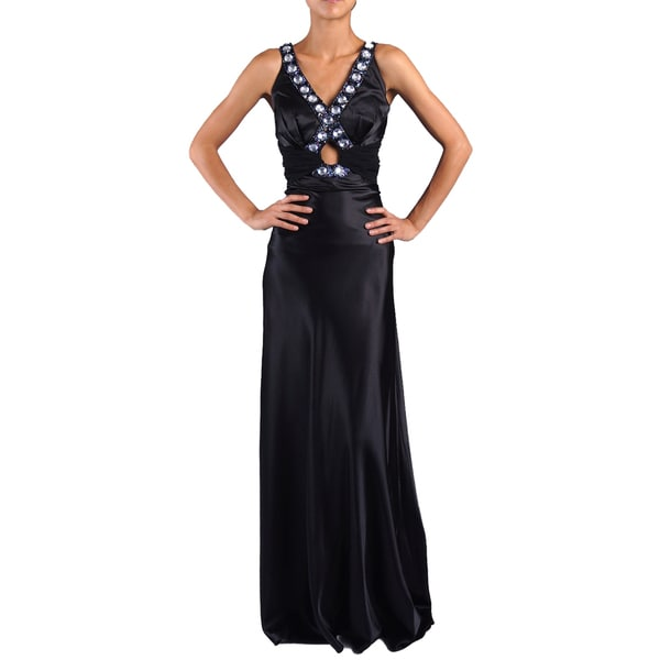 DFI Women's Jewel-trim Keyhole Evening Gown Large Size in Black (As Is Item)