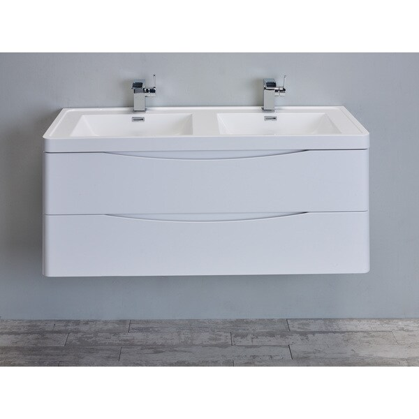 """Eviva Smile 48"""" Glossy White Modern Bathroom Vanity Set with Integrated White Double Acrylic Sink"""