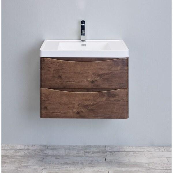 Eviva Smile  Rosewood Modern Bathroom Vanity Set With Integrated