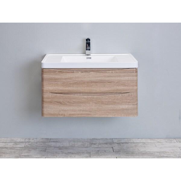 "Eviva Smile 36"" White Oak Modern Bathroom Vanity Set with Integrated White Acrylic Sink"