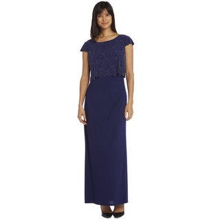 R & M Richards Long Popover Beaded Gown