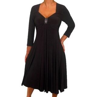 Women's Plus Size 3/4 Sleeves Empire Waist Black Cocktail Dress