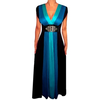 Women's Plus Size Blue/ Black Colorblock Long Maxi Dress