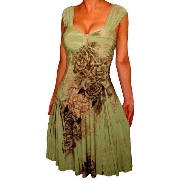 Funfash Women's Plus Size Sage Green Black Floral Dress