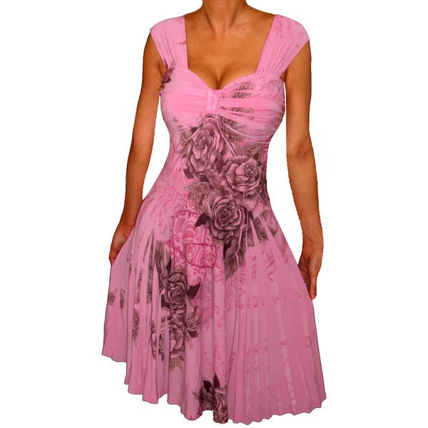 Women's Plus Size Pink Rose Slimming Empire Waist Cocktail Dress