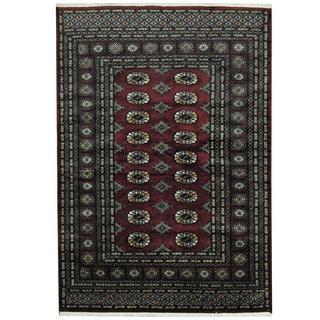 Herat Oriental Pakistani Hand-knotted Prince Bokhara Burgundy/ Gold Wool Rug (4' x 6')