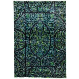 Herat Oriental Afghan Hand-knotted Vegetable Dye Kerman Navy/ Blue Wool Rug (4' x 6')