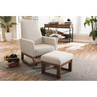 Baxton Studio Yashiya Mid-century Retro Modern Light Beige Fabric Upholstered Rocking Chair and Ottoman Set