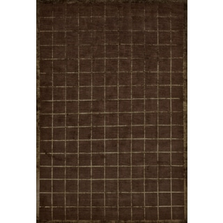 Grand Bazaar Hand-knotted Wool and Silk Chadwick Rug in Chocolate (8'6 x 11'6)
