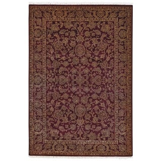 Grand Bazaar Hand-knotted Wool and Art Silk Armitage Rug in Burgundy/ Burgundy (7'9 x 9'9)