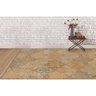 Ariel Sand Traditional Design Hand-knotted Rug (6'x9')