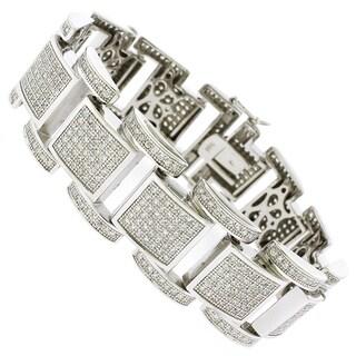 Rhodium-plated Sterling Silver Men's Cubic Zirconia Square Link Bracelet