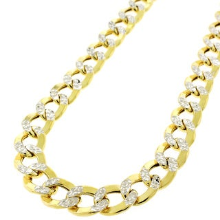 10K Two-tone Gold Hollow Cuban Curb Diamond Cut 9.5mm Chain Necklace